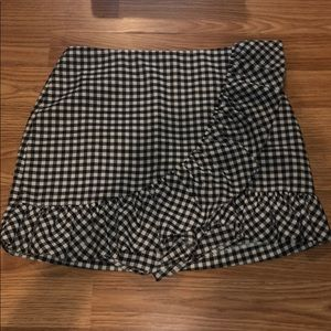 Mini Checker skirt with short underneath